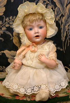 """17"""" JDK Hilda Baby All Antique German Baby Doll~The Most Cherished from kathylibratysantiques on Ruby Lane She's creepy, but I have one that was modeled on the traditional Baby Hilda doll, but specially cast based on my baby pictures. It was my first birthday present, and the only doll that doesn't creep me out."""