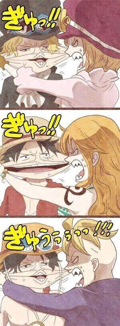 Koala and Sabo, Luffy and Nami  Ace and Marco.