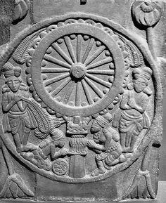 Worship of the Buddha in form of Wheel of Dharma Bharhut BC NatlMus NewDelhi Buddha Kunst, Buddha Art, Sanchi Stupa, Ancient Indian History, Buddhist Stupa, Asian Sculptures, Ancient Artefacts, Buddha Life, Buddhist Symbols