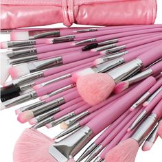 Professional Studio 48 Pcs Makeup Brush Set with Amazing Pink Cosmetic Leather Case Bag - Makeup Brushes - Makeup - Health & Beauty