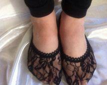 CALCETINES de encaje negro, forrado en calcetines de encaje en color negro / negro calcetines de encaje, trazador de líneas del pie