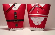 Box in a bag--Santa and Mrs Claus Christmas Projects, Holiday Crafts, Holiday Fun, Christmas Ideas, Christmas Ornaments, Wrapping Ideas, Gift Wrapping, Project Ideas, Craft Ideas