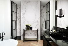 A muted palette of alternating black and white rooms lends a pleasing rhythm to this sophisticated Melbourne home with French and Belgian influence. Interior Design Gallery, White Interior Design, French Interior, Luxury Homes Interior, Home Interior, Modern Interior, Interior Doors, Interior Ideas, Steel Frame Doors