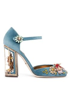 "Dolce and Gabana 2014 Haute ""Shoeture"" a bejeweled suede strapped pump with a ""curiosity"" heel"