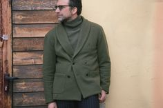 Guerreisms / Drew Andreoli Andrea of Drew & Co. Cool Street Fashion, Street Style, Double Breasted Blazer, Men Street, Green Jacket, Blazer Jacket, Outfit Of The Day, Men Sweater, Style Inspiration