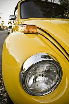 yellow VW bug --- aww!! my dad seriously drove me to daycare in his 70s vw bug and I remember it...