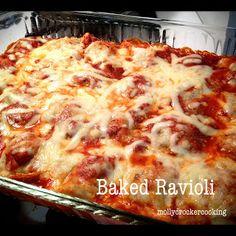 Baked Ravioli--pasta sauce, frozen bag ravioli, mozzarella or Italian cheese blend, and Parmesan