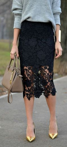 Women's fashion | Grey sweater, black lace pencil skirt and golden heels