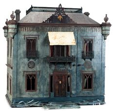 Large wooden Dollhouse with roof garden and ballroom~Image © Theriault's Antique Doll Auctions