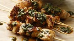 Marinated chicken skewers with chermoula
