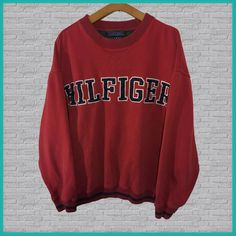 Vintage Tommy Hilfiger Crewneck Sweatshirt Red – Fashion - To Have a Nice Day Sweatshirt Outfit, Vintage Crewneck Sweatshirt, Crew Neck Sweatshirt, Sweatshirts Vintage, Tommy Hilfiger Sweatshirt, Hoodie Sweatshirts, Hoodies, Tommy Hilfiger Mujer, Tommy Hilfiger Women