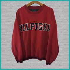 Vintage Tommy Hilfiger Crewneck Sweatshirt Red