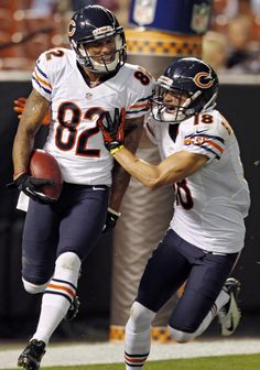 I love NFL so much that I do NFL football betting and watch every single game of it. Here's one of the best moment of NFL preseason this year. Chicago Bears' Brittan Golden (82) celebrates with teammate Dane Sanzenbacher (18) after Golden returned a blocked punt for a touchdown against the Cleveland Browns in the third quarter of a preseason NFL football game. The Bears won 28-20.    Visit: http://www.sportsbook.ag/football-betting/NFL/