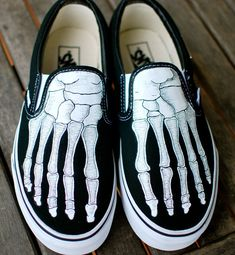 Hand Painted Skeleton Boney Feet Slip On Vans by BStreetShoes