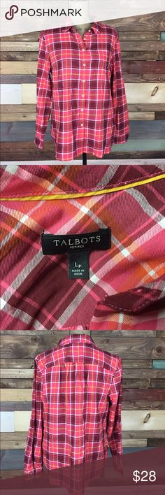 "Talbots Red and Pink Button Up Blouse - Lp Talbots Red and Pink Button Up Blouse - Lp  Petites Talbots button up I s super comfy and adorable. Absolutely ready to be worn!   Bust (Laying flat): 21.5"" Length: 25.5"" 100% Cotton   #woodsnap #talbots #petites #soft #Large #pink #red #plaid Talbots Tops Button Down Shirts"