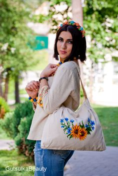 Linen Bag Tote Bag Purse Tote with embroidered sunflower handmade ukrainian embroidery for summer 2015
