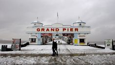 Seaside snow: Snow not sand dominated the beaches around the Grand Pier in Weston-Super-Mare, Somerset, today North Somerset, Weston Super Mare, British Seaside, Snow Pictures, Seaside Towns, Yet To Come, Daily Mail, Beaches, The Good Place