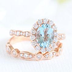 Oval Aquamarine Ring Bridal Set in Rose Gold Halo Diamond Bezel Scalloped Band