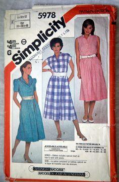 Vintage Simplicity 5978 B 1983 Size 8 10 12 by VintagePatternsPlus, $7.00