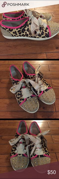 • LONDON SOLE by Jane Winkworth • leopard studded Gently worn London Sole by Jane Winkworth sneakers. Leopard print with gold studs and pink detail. Size 8! London Sole Shoes Sneakers