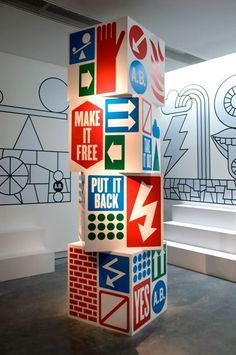 anthony burrill #signage #wayfinding #system #design #crossroad #blocks #cubes #indoor #3D #rotation #direction #arrow: