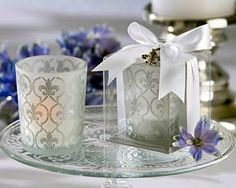 The Classic Fleur de Lis Frosted Glass Tealight Holders (Set of 4)