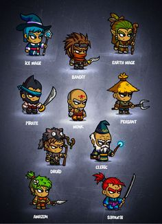 RPG Cartoon Characters - game art Graphics RPG 2 Cartoon Characters - game artis a second collection of the awesome 10 cartoon characters by EatCreatures Character Design Sketches, Game Character Design, Character Concept, Game Design, Character Art, Monster Characters, Chibi Characters, 2d Game Art, Game Concept Art
