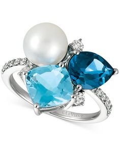 Le Vian® Deep Sea Blue Topaz™, Ocean Blue Topaz™ and Cultured Freshwater Pearl and Vanilla Diamonds® Ring in 14k Vanilla Gold®
