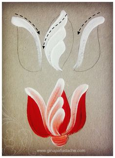Atelier Gina Pafiadache: Treinando as pinceladas da Tulipa em Bauernmalerei