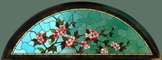 Antique American Floral Arched Stained Glass Transom Window