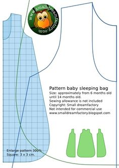 Sewing Patterns Free small dreamfactory : free sewing patterns babyclothing and softies: Free sewing pattern baby sleeping bag - Where should you put your newborn to sleep where he or she will be safe and sound? Here are some guidelines for your Sewing Patterns Free, Free Sewing, Baby Patterns, Free Pattern, Blanket Patterns, Pattern Sewing, Knitting Patterns, Baby Sewing Projects, Sewing For Kids