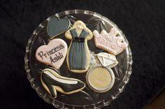 Sooner Sugar Cookies https://www.facebook.com/soonersugar Princess cookies, Dress Cookies, ring cookie, Crown cookies, Shoe cookies