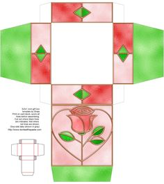 Stained glass rose printable box - She has many other super cute tiny boxes for favors (also mandalas Celtic knot work to color or embroider) Paper Box Template, Origami Templates, Box Templates, Diy Gift Box, Diy Box, Gift Boxes, Valentine Day Love, Valentine Gifts, Foam Crafts