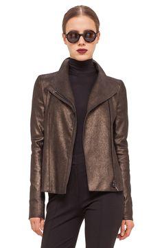 Akris punto Metallic Nappa Leather Moto Jacket