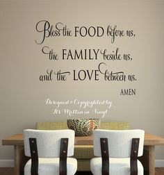 Bless the food before us   faith-Vinyl Lettering wall words graphics Home decor itswritteninvinyl