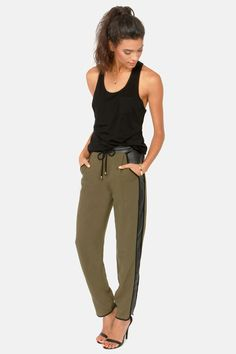 Walk My Way Cropped Black and Olive Green Pants at LuLus.com!