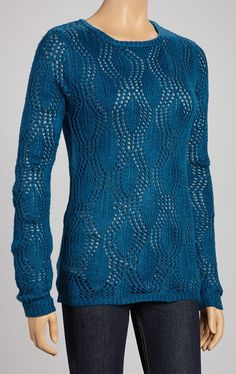 Teal Sheer Wave Sweater
