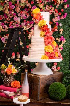 Wedding Cake with Pink & Orange Flower | Mod & Pop
