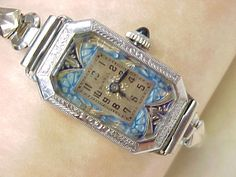 1920s Art Deco Ladies Watch by Benrus, Colorful Enameled Dial