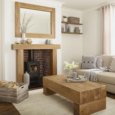 Oak Beam Fire Surround With Solid Rustic Character - Banbury Cottage Living Rooms, Living Room Grey, Living Room Interior, Home Living Room, Living Room Designs, Living Room Decor, Oak Living Room Furniture, Log Burner Living Room, Living Room With Fireplace