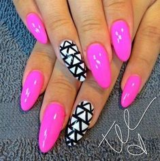 Almond nails are here to stay. So, in order to get you ready for the latest trend in manicures, we have some almond nails ideas you can try. Pink Stiletto Nails, Pointy Nails, Coffin Nails, Acrylic Nails, Pink Nail, Nail Gel, Nail Polish, Fancy Nails, Trendy Nails