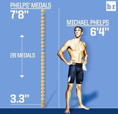 Michael Phelps stands tall, his medals stand taller. Olympic Swimmers, Olympic Athletes, Olympic Gymnastics, Male Athletes, Olympic Games, Swimming Posters, Swimming Memes, Swimming Funny, Swimming Tips