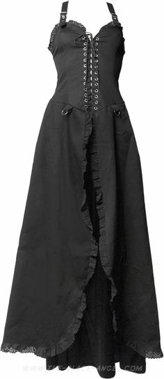 Women's gothic dress by Aderlass, laced on the front, straps in the back.