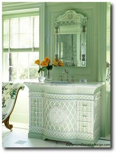 Treillage Room Designed By Anthony Baratta Decorating With Celadon Green For A 1700s Feel