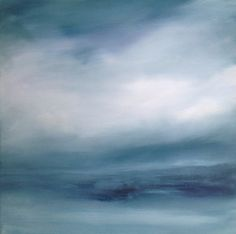 Abstract Blue Painting, Oil on Canvas, 'Bare as Bone'