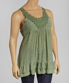 This Sage Crochet Empire-Waist Yoke Tunic - Plus by Simply Irresistible is perfect! #zulilyfinds