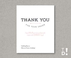 Thank you for your order card Printable INSTANT by totallydesign, $10.00
