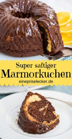 Grandma& fluffy marble cake with cream - with or without orange - a pinch of delicious- Omas fluffiger Marmorkuchen mit Sahne – mit oder ohne Orange – Eine Prise Lecker Juicy and chocolatey, even for several days. Quick Dessert Recipes, Easy Baking Recipes, Easy Appetizer Recipes, Easy Cake Recipes, Baby Food Recipes, Snack Recipes, Brownie Recipes, Mini Desserts, Desserts For A Crowd
