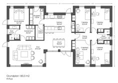 Billedresultat for gårdhavehus plantegning Sims House Plans, Dream House Plans, U Shaped House Plans, Plans Architecture, 4 Bedroom House Plans, Apartment Layout, House Drawing, Display Homes, House Layouts