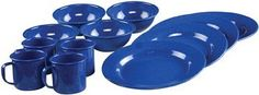 Find Coleman 12 Piece Enamelware Dining Set, Blue in the Camp Dinnerware category at Tractor Supply Co.This Coleman 12 Piece Enamelware Dining S Camping Dishes, Camping Items, Camping Essentials, Camping Hacks, Camping Gear, Camping Cooking, Family Camping, Backpacking, Camping Checklist